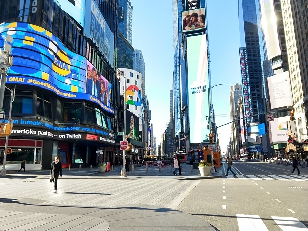 """New York's Times Square is almost deserted on Saturday, March 14, 2020, because of the coronavirus pandemic. Called the """"Crossroads of the World,"""" Times Square is usually crowded with tourists from around the world and New Yorkers on a weekend. (Photo: Arul Louis/IANS) by ."""
