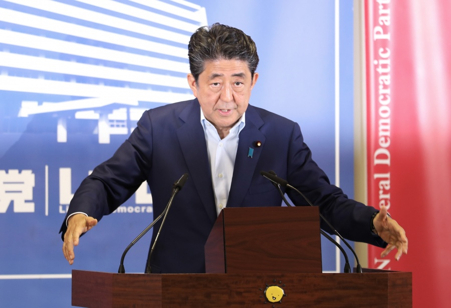 TOKYO, July 23, 2019 (Xinhua) -- Japanese Prime Minister Shinzo Abe attends a news conference in Tokyo, Japan, July 22, 2019. Abe said Monday that he will be more flexible for future debates in parliament on revising Japan's Constitution. n Abe made the remarks in a news conference a day after pro-amendment forces suffered a setback in failing to achieve a two-thirds majority in Sunday's upper house election. (Xinhua/Du Xiaoyi/IANS) by .