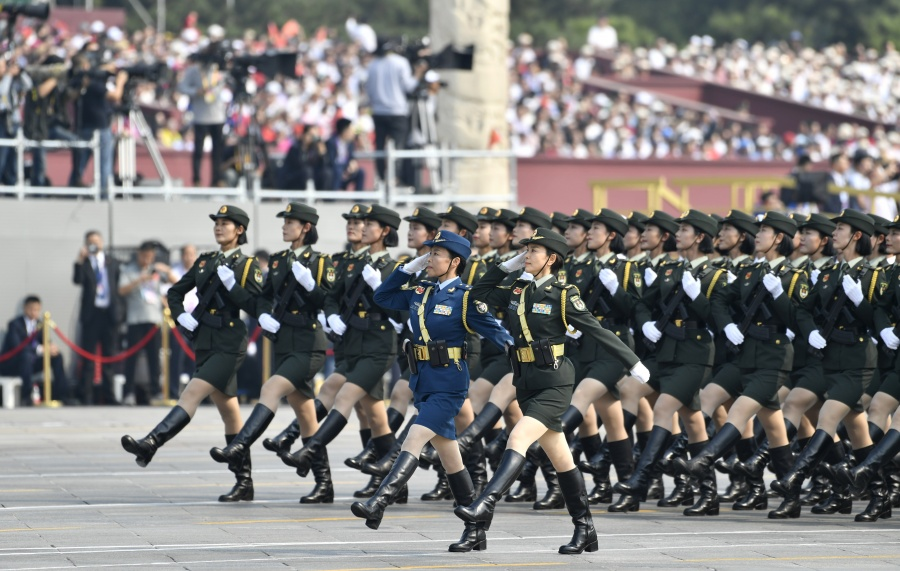 BEIJING, Oct. 1, 2019 (Xinhua) -- A formation of servicewomen marches in a military parade during the celebrations marking the 70th anniversary of the founding of the People's Republic of China (PRC) in Beijing, capital of China, Oct. 1, 2019. (Xinhua/Liu Chan/IANS) by .