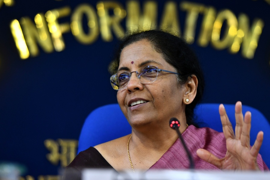 New Delhi: Union Finance and Corporate Affairs Minister Nirmala Sitharaman addresses a press conference in New Delhi on March 13, 2020. (Photo: IANS) by .