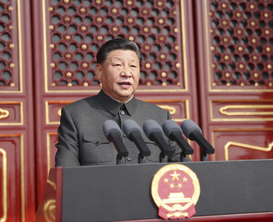BEIJING, Oct. 1, 2019 (Xinhua) -- Chinese President Xi Jinping, also general secretary of the Communist Party of China (CPC) Central Committee and chairman of the Central Military Commission, delivers a speech at a grand rally to celebrate the 70th anniversary of the founding of the People's Republic of China at the Tian'anmen Square in Beijing, capital of China, Oct. 1, 2019. (Xinhua/Ju Peng/IANS) by .