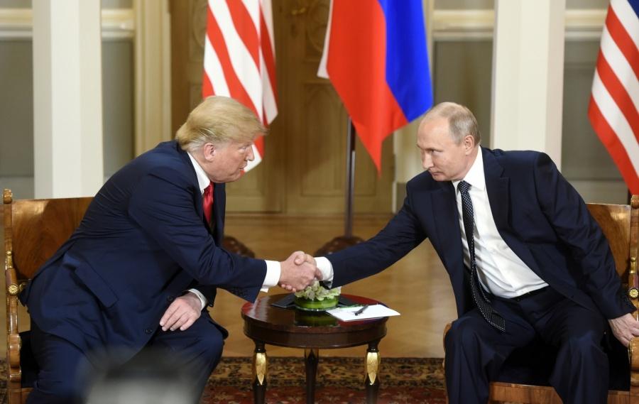 HELSINKI, July 16, 2018 (Xinhua) -- U.S. President Donald Trump (L) shakes hands with his Russian counterpart Vladimir Putin in Helsinki, Finland, on July 16, 2018. U.S. President Donald Trump and his Russian counterpart Vladimir Putin started their first bilateral meeting here on Monday, and they are expected to discuss a wide range of issues. (Xinhua/Lehtikuva/Heikki Saukkomaa/IANS) by .