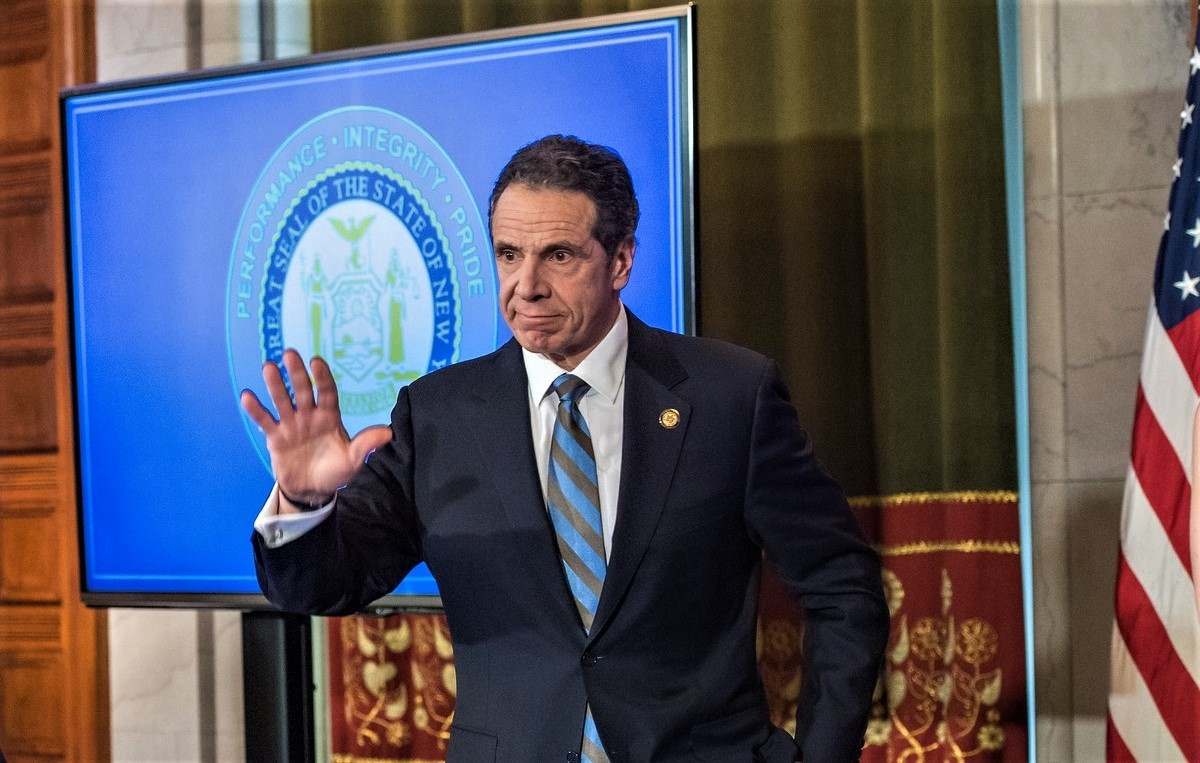 New York Governor Andrew Cuomo at his news conference on Wednesday, April 16, 2020, in state capital, Albany, where he announced he was extending the coronavirus restrictions till May 15. (Photo: NY Governor's Office/IANS). by .