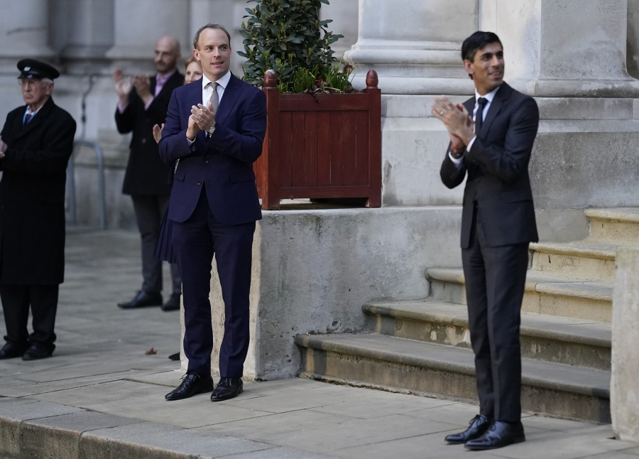 Dominic Raab and Rishi Sunik Clap for our Carers by .