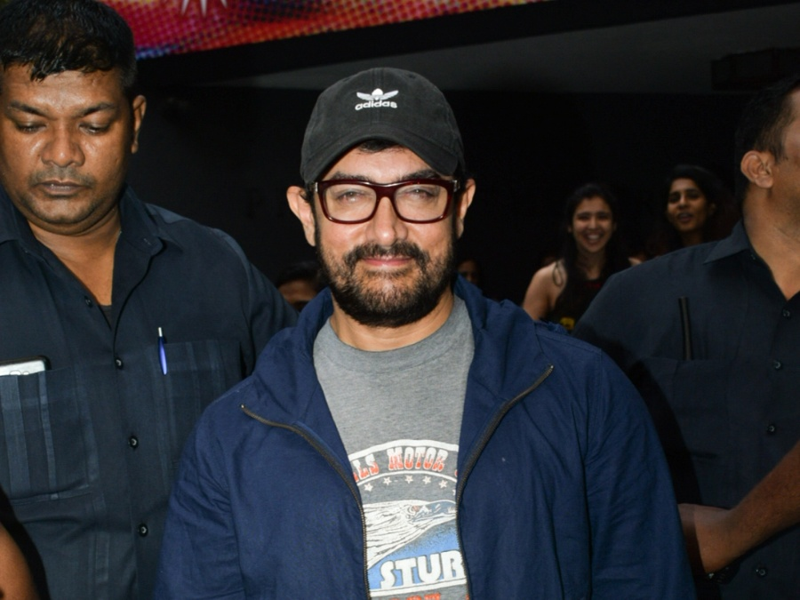 Mumbai: Actor Aamir Khan seen outside a theatre, in Mumbai's Juhu, on May 23, 2019. (Photo: IANS) by .