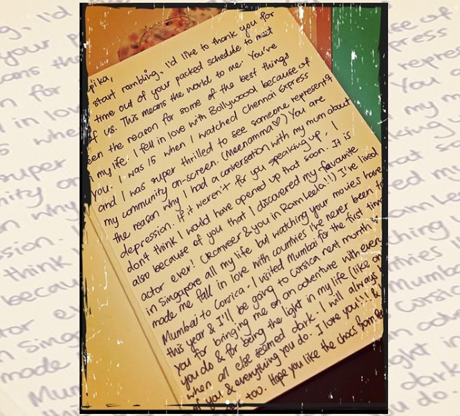 Deepika Padukone shares handwritten letters written by fans. by .