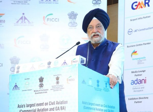 Hyderabad: Union MoS Housing & Urban Affairs, Civil Aviation (Independent Charge) and Commerce & Industry Hardeep Singh Puri addresses at the Wings India 2020 at Begumpet Airport in Hyderabad on March 14, 2020. (Photo: IANS/PIB) by .