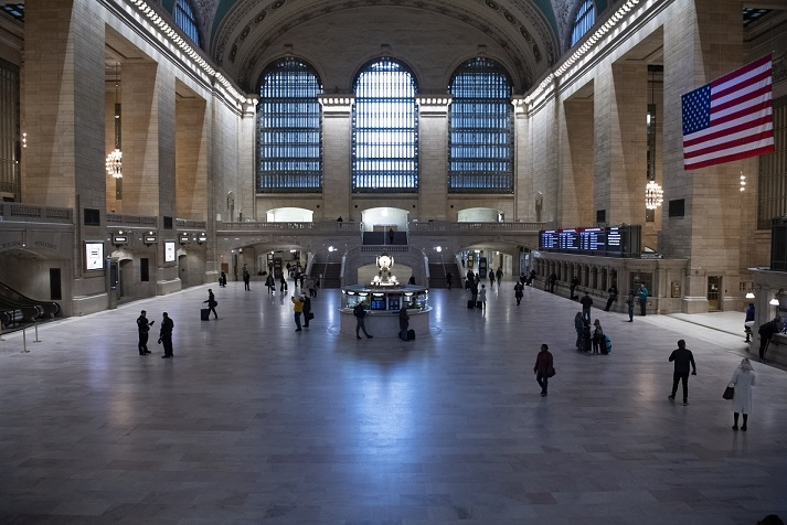 """New York's Grand Central Station is almost empty on Tuesday, March 24, 2020, after the city was put under """"Stay-at-Home"""" orders. The city has become the epicentre of Covid-19 pandemic. (Photo: UN/IANS) by ."""