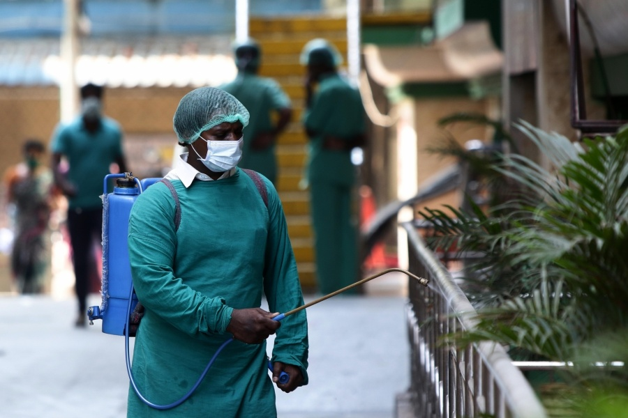 Chennai: Disinfectants being sprayed in and around the Rajiv Gandhi Hospital amid COVID-19 pandemic during the 21-day nationwide lockdown - that entered its 8th day - imposed as a precautionary measure to contain the spread of coronavirus, in Chennai on Apr 1, 2020. (Photo: IANS) by .