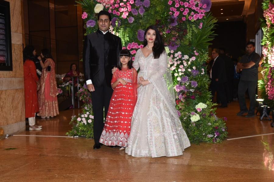 Mumbai: Actor Abhishek Bachchan, his wife Aishwarya Rai Bachchan and their daughter Aaradhya Bachchan at actor Armaan Jain's wedding reception in Mumbai on Feb 3, 2020. (Photo: IANS) by .