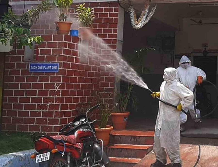 Hyderabad: Disinfectants being sprayed as part of a sanitisation drive being conducted across Hyderabad during the nationwide lockdown imposed as a precautionary measure to contain coronavirus, that has now been extended till May 3; on Apr 14, 2020. (Photo: IANS) by .