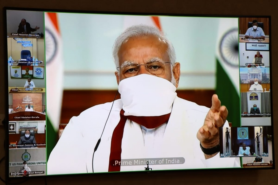 Prime Minister Narendra Modi during the video conferencing of Chief Ministers. by .