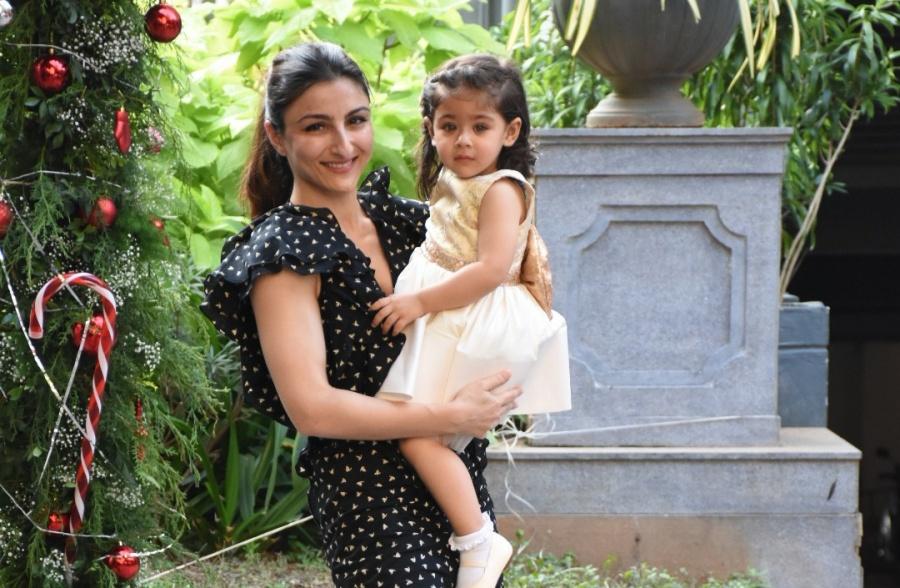 Mumbai: Actress Soha Ali Khan arrives with her daughter Inaaya Naumi Kemmu for the birthday celebrations of her nephew Taimur Ali Khan in Mumbai on Dec 19, 2019. (Photo: IANS) by .