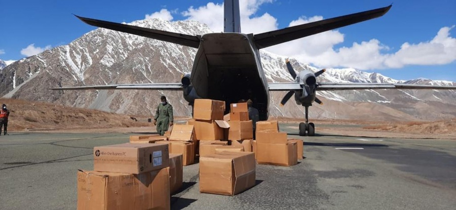 New Delhi: IAF aircraft being loaded with essential medical supplies which include Personal Protective Equipment, Hand sanitizers, surgical gloves, thermal scanners etc to be airlifted to various parts of the country as part of IAF's assistance to the civil administration to fight against spread of Covid-19. (Photo: IANS) by .