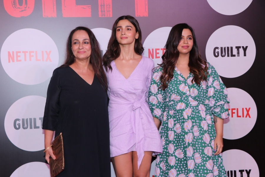 """Mumbai: Actress Alia Bhatt with her mother Soni Razdan and her sister Shaheen Bhatt at the screening of the upcoming web film """"Guilty"""" in Mumbai on March 4, 2020. (Photo: IANS) by ."""