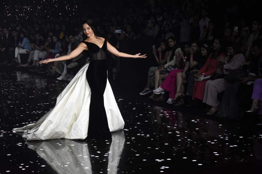 Mumbai: Actress Nora Fatehi showcases the creation of Fashion designer Gaurangi & Nainika at the Lakme Fashion Week Summer/Resort 2020, in Mumbai on Feb 14, 2020. (Photo: IANS) by .