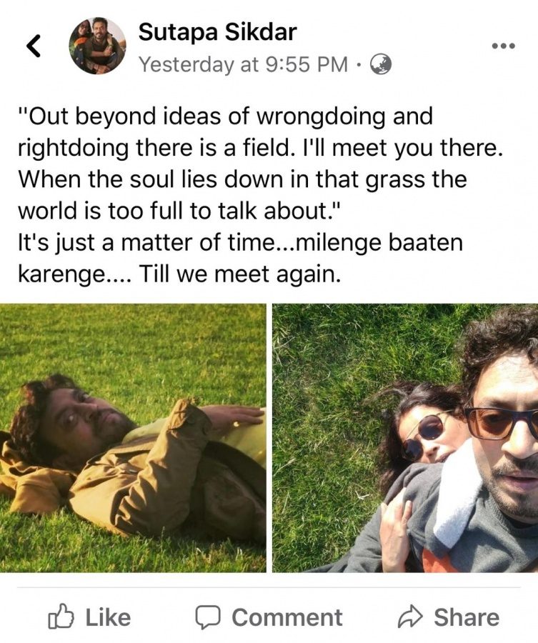 Irrfan's wife shares throwback pic of actor: Till we meet again. by .