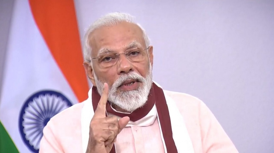 New Delhi: Prime Minister Narendra Modi addresses the nation on COVID-19 related issues, on May 12, 2020. (Photo: IANS/PIB) by .