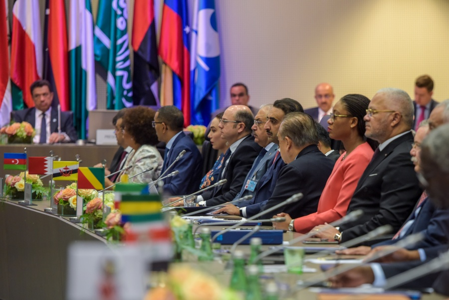 VIENNA, July 2, 2019 (Xinhua) -- Photo taken on July 2, 2019 shows a view of the 6th Organization of the Petroleum Exporting Countries (OPEC) and non-OPEC Ministerial Meeting held in Vienna, Austria. Ten non-OPEC oil producing countries led by Russia endorsed on Tuesday the decision by the OPEC to extend production cuts until next March. (Xinhua/Guo Chen/IANS) by .