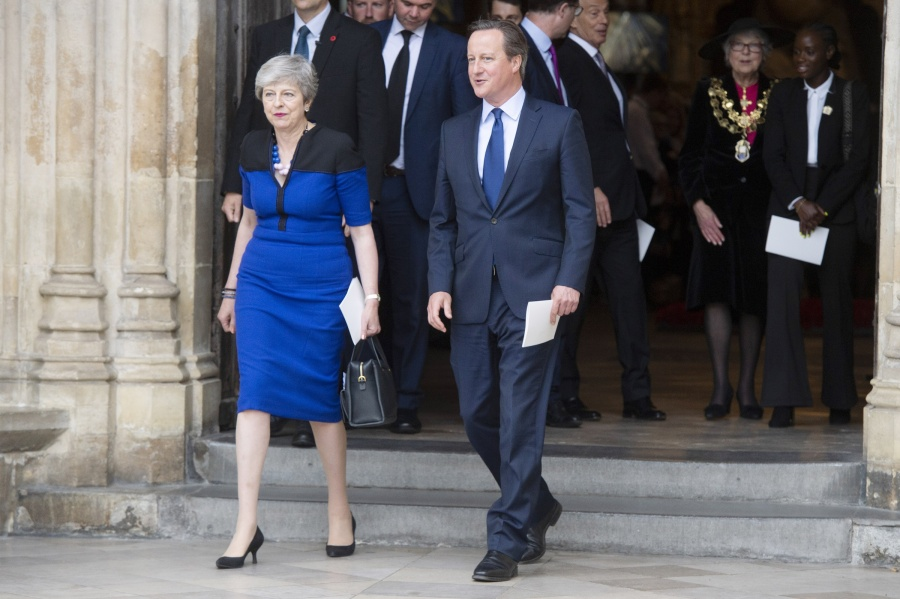 LONDON, June 21, 2019 (Xinhua) -- British Prime Minister Theresa May (L) and former British Prime Minister David Cameron leave after attending a service of thanksgiving for the life and work of former Cabinet Secretary Jeremy Heywood, at Westminster Abbey in London, Britain, June 20, 2019. (Xinhua/Ray Tang/IANS) by .