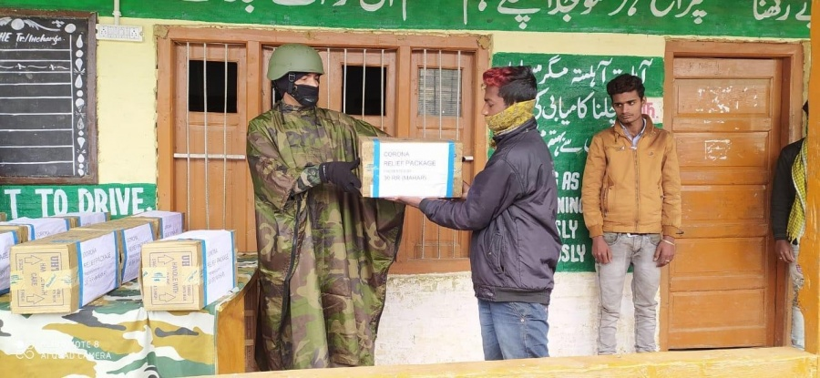Army distributes free ration and supplies to daily wage earners, migrant labourers in Kashmir. by .