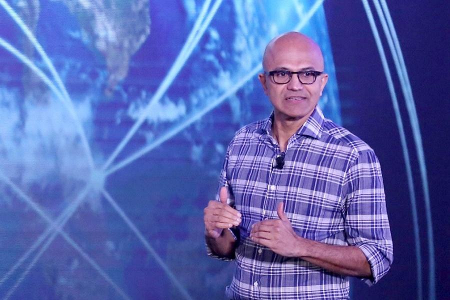 "Bengaluru: Microsoft CEO Satya Nadella addresses during the Microsoft ""Future Decoded"" tech summit in Bengaluru on Feb 25, 2020. (Photo: IANS) by ."
