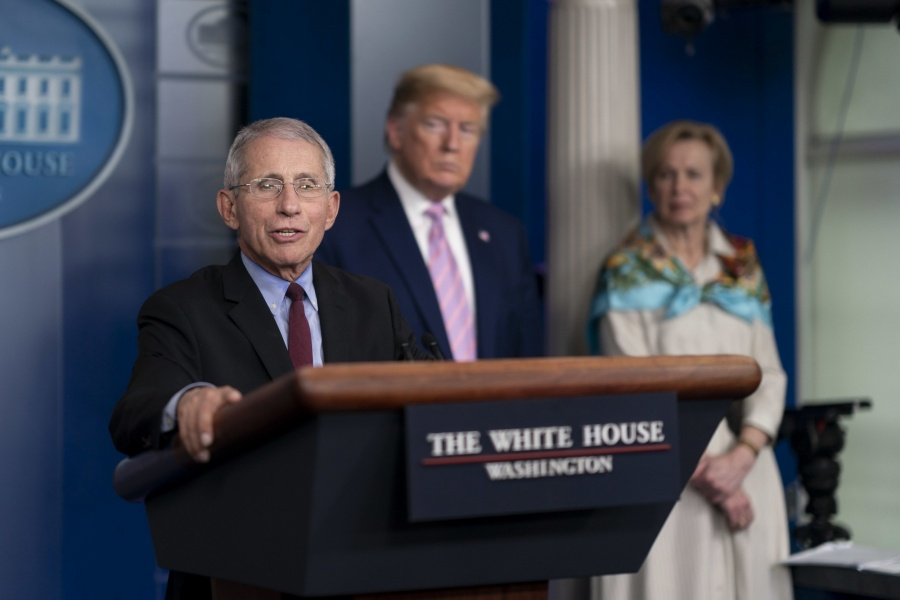 Anthony Fauci, from left, the medical adviser to United States President Donald Trump on COVID-19, Deborah Birx, the coordinator of the White House Coronavirus Task Force, at a news conference on April 4, 2020, in Washington. (Photo: White House/IANS) by .