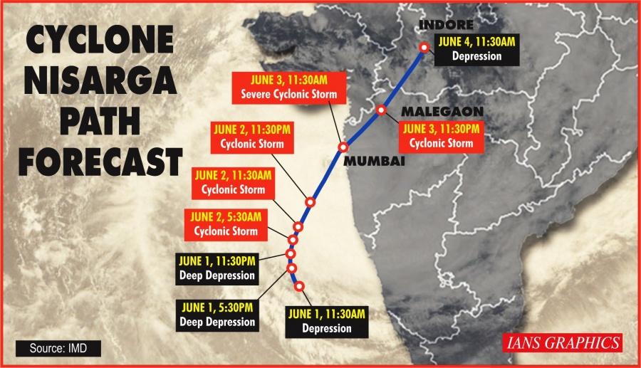 Cyclone Nisarga Path Forecast. (IANS Infographics) by .