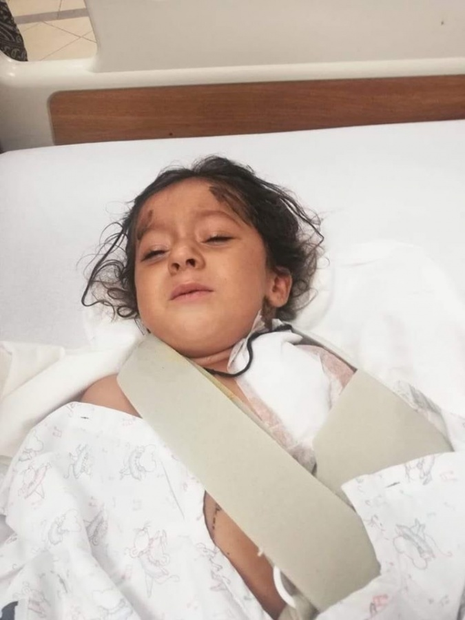 4 year old Bramsh injured in the attack in which her mother was killed allegedly by the government. by .