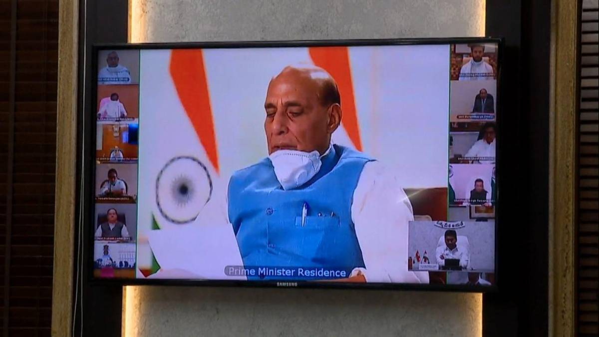 New Delhi: Defence Minister Rajnath Singh addresses an all-party meeting called by Prime Minister Narendra Modi over the killing of 20 Indian soldiers by Chinese People's Liberation Army (PLA) in the Galwan valley, via video conferencing in New Delhi on June 19, 2020. (Video Grab: IANS) by .