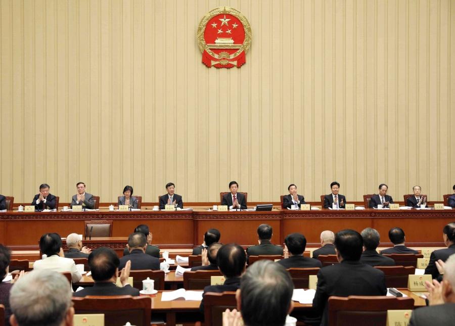 BEIJING, Dec. 28, 2019 (Xinhua) -- Li Zhanshu, chairman of the National People's Congress (NPC) Standing Committee, speaks during the closing meeting of the 15th session of the 13th NPC Standing Committee at the Great Hall of the People in Beijing, capital of China, Dec. 28, 2019. (Xinhua/Liu Weibing/IANS) by .
