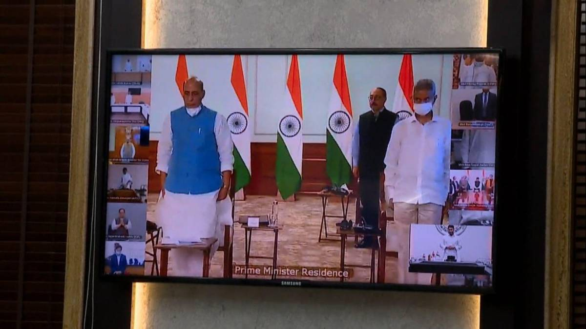 New Delhi: Defence Minister Rajnath Singh and External Affairs Minister S. Jaishankar pay their respects to the martyrs, at an all-party meeting called by the Prime Minister over the killing of 20 Indian soldiers by Chinese People's Liberation Army (PLA) in the Galwan valley, via video conferencing in New Delhi on June 19, 2020. (Video Grab: IANS) by .