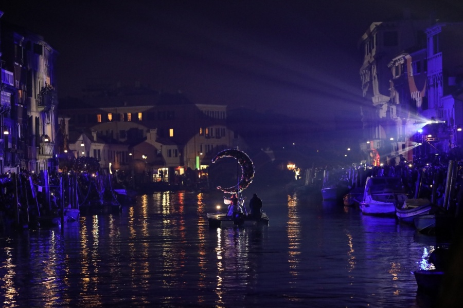 VENICE, Feb. 17, 2019 (Xinhua) -- An actress performs on the water at Rio di Cannaregio during the Venice Carnival in Venice, Italy, Feb. 16, 2019. The Venice Carnival 2019 kicked off on Saturday and will last till March 5. (Xinhua/Cheng Tingting/IANS) by .