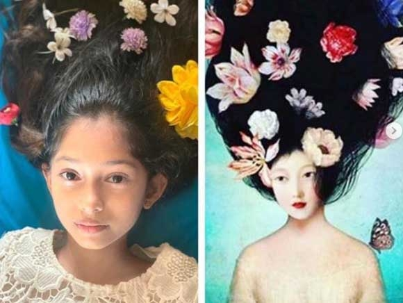 Farah dolls up daughters Anya, Diva to recreate paintings. by .