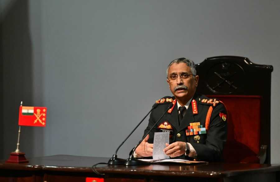 New Delhi: Army chief General Manoj Mukund Naravane addresses during the annual press conference at the Manekshaw Centre in New Delhi on Jan 11, 2020. (Photo: IANS) by .