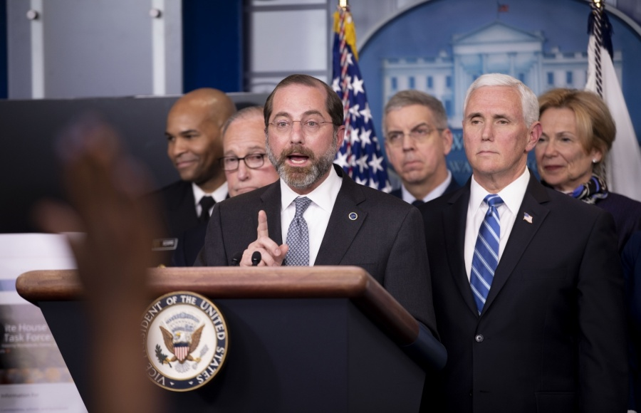 WASHINGTON D.C., March 11, 2020 (Xinhua) -- U.S. Health and Human Services (HHS) Secretary Alex Azar attends a press conference on the COVID-19 at the White House in Washington D.C. March 10, 2020. The number of COVID-19 cases in the United States have topped 1,000 by 11:30 p.m. EST Tuesday (0330 GMT on Wednesday), reaching 1,001 with 28 deaths, according to the Center for Systems Science and Engineering (CSSE) at Johns Hopkins University. (Xinhua/Liu Jie/IANS) by .