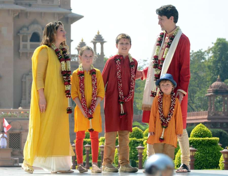 Gandhinagar: Canadian Prime Minister Justin Trudeau and his family dressed in traditional attire, visit the Akshardham Temple in ​Gandhinagar on Feb 19, 2018. (Photo: IANS) by .