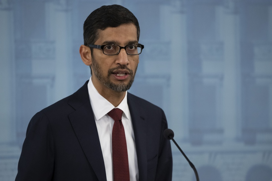 HELSINKI, Sept. 20, 2019 (Xinhua) -- Google CEO Sundar Pichai attends a joint press conference with Finnish Prime Minister Antti Rinne (not in the picture) in Helsinki, Finland, on Sept. 20, 2019. Google CEO Sundar Pichai said here on Friday that the internet giant had decided to invest 3 billion euros (3.3 billion U.S. dollars) to expand its data centers in Europe over the next two years. (Photo by Matti Matikainen/Xinhua/IANS) by .