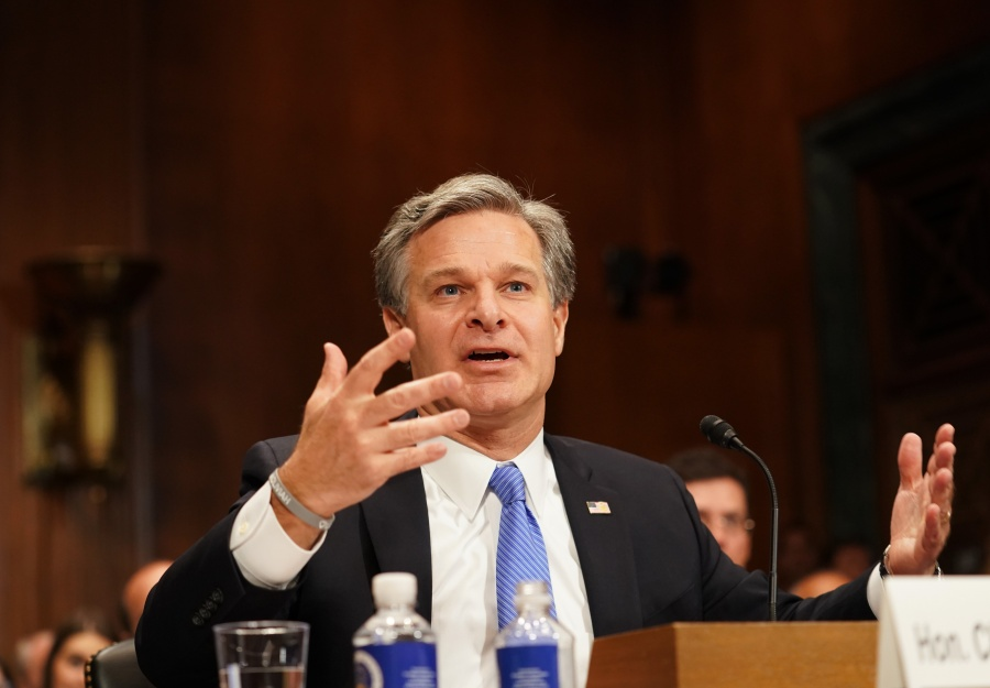 """WASHINGTON, July 23, 2019 (Xinhua) -- U.S. FBI Director Christopher Wray testifies before a Senate Judiciary Committee hearing on """"Oversight of the Federal Bureau of Investigation"""" on Capitol Hill in Washington D.C., the United States, on July 23, 2019. (Xinhua/Liu Jie/IANS) by ."""
