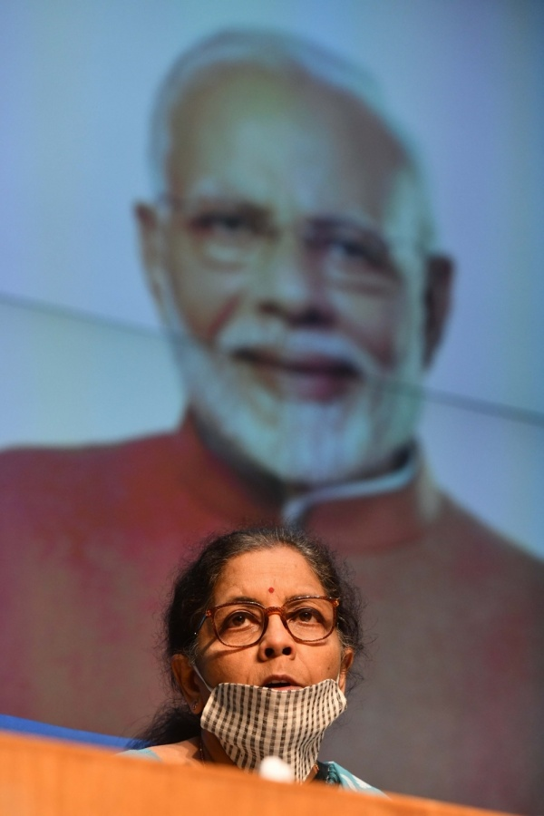New Delhi: Union Finance Minister Nirmala Sitharaman addresses a press conference on the Rs 20 lakh crore economic package announced by Prime Minister Narendra Modi in his address to the nation on Tuesday, in New Delhi on May 13, 2020. (Photo: IANS) by .