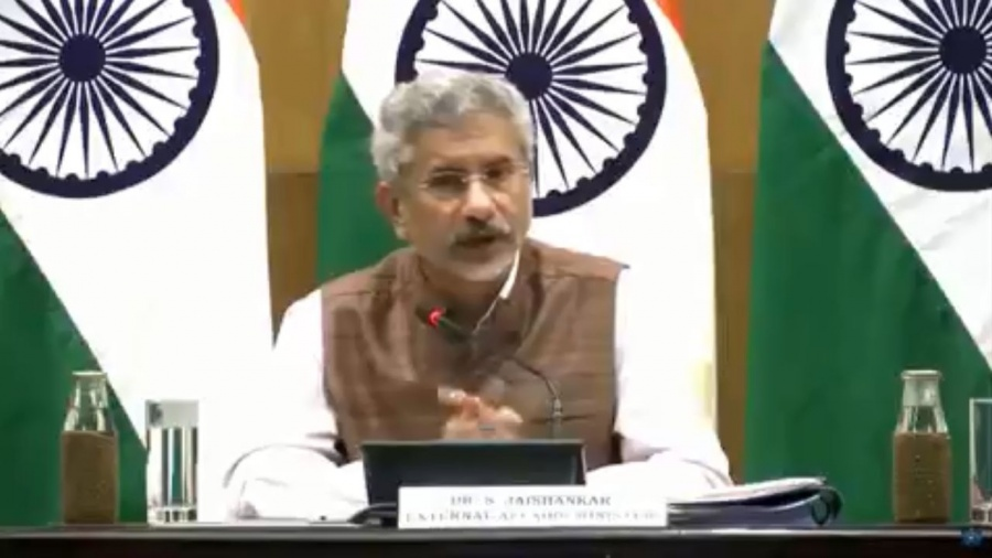 New Delhi: External Affairs Minister S. Jaishankar addresses a press conference on 100 days of Government, in New Delhi on Sep 17, 2019. (Photo: IANS/MEA) by .