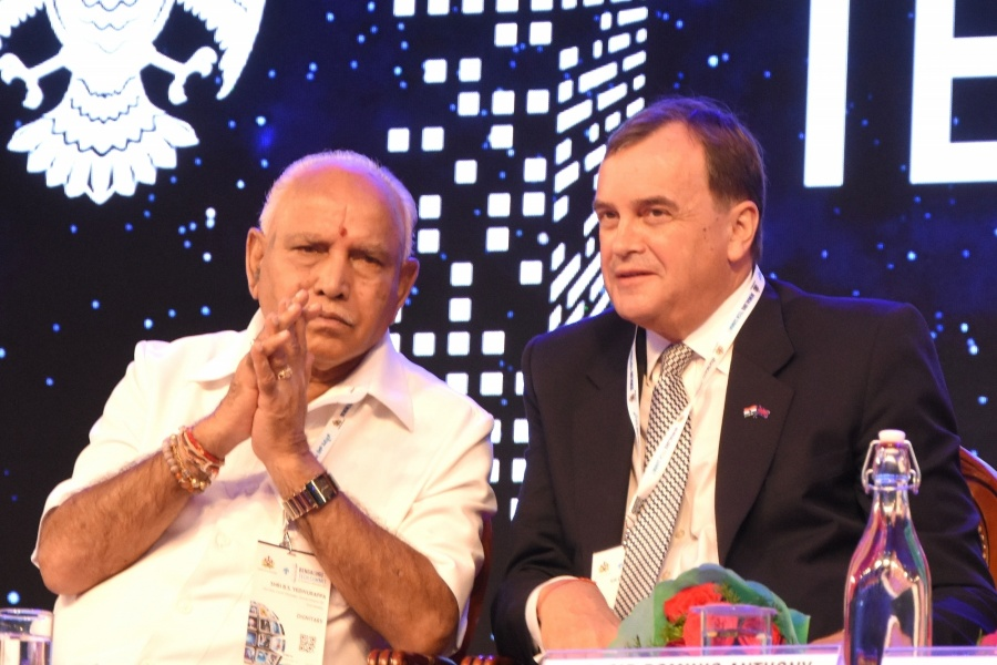 Bengaluru: Karnataka Chief Minister BS Yediyurappa in a conversation with British High Commissioner to India Domnic Anthony Gerard Asquith at the inaugural session of Bengaluru Tech Summit 2019, on Nov 18, 2019. (Photo: IANS) by .