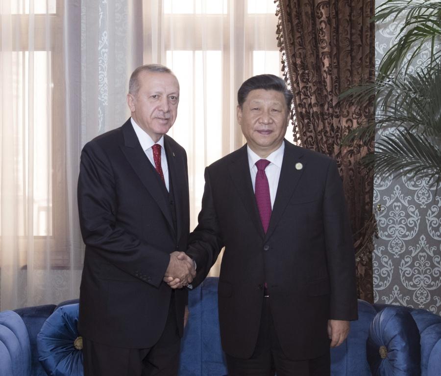 DUSHANBE, June 15, 2019 (Xinhua) -- Chinese President Xi Jinping (R) meets with his Turkish counterpart Recep Tayyip Erdogan in Dushanbe, Tajikistan, June 15, 2019. (Xinhua/Wang Ye/IANS) by .