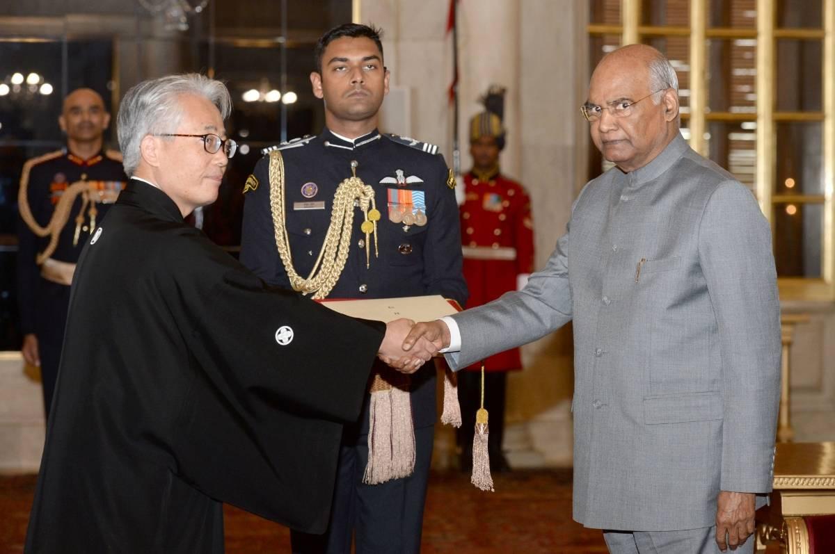 Ambassador-designate of Japan Satoshi Suzuki presents his credentials to President Ram Nath Kovind in New Delhi on Nov 27, 2019. (Photo: IANS/RB) by .