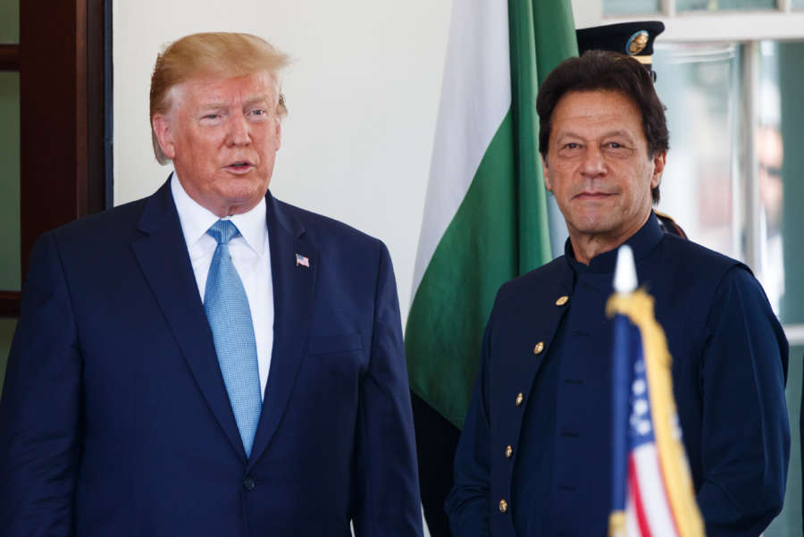 WASHINGTON D.C., July 23, 2019 (Xinhua) -- U.S. President Donald Trump (L) welcomes Pakistani Prime Minister Imran Khan at the White House in Washington D.C. July 22, 2019. (Photo by Ting Shen/Xinhua/IANS) by Liu Jie.