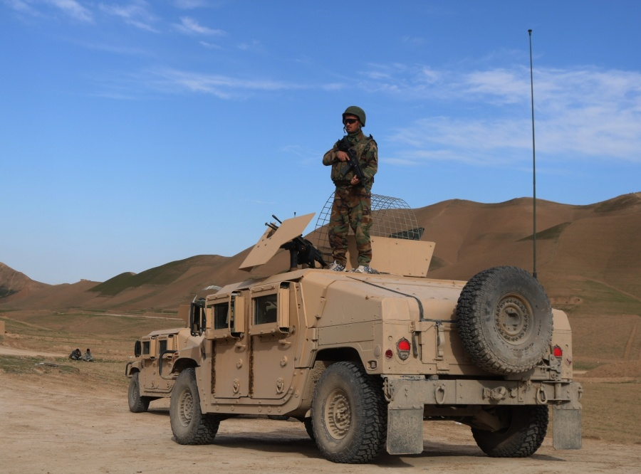 SARI PUL, Feb. 17, 2019 (Xinhua) -- An Afghan security force member stands on a military vehicle during a military operation in Sayad district of Sari Pul province, Afghanistan, Feb. 16, 2019. Afghan government forces have killed 20 militants and overrun a main base of the Taliban outfit in Sayad district of Afghanistan's northern Sari Pul province following fierce fighting, provincial police chief Abdul Karim Baqizoi said Sunday. (Xinhua/Mohammad Jan Aria/IANS) by .