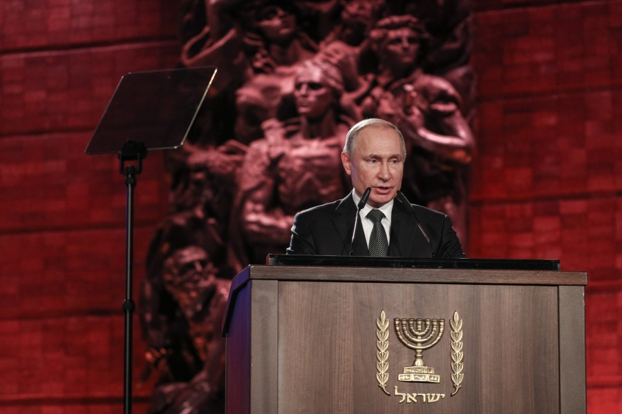 JERUSALEM, Jan. 23, 2020 (Xinhua) -- Russian President Vladimir Putin speaks during the 5th World Holocaust Forum at the Yad Vashem Holocaust memorial in Jerusalem, on Jan. 23, 2020. Dozens of world leaders gathered on Thursday in Jerusalem to commemorate 75 years for the liberation of the Auschwitz camp and called on to combat the resurgence of modern-day anti-Semitism. (Yonatan Sindel/JINI via Xinhua/IANS) by .