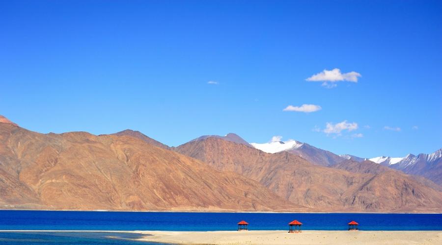 A view of Pangong Lake, situated on Indo-China border in Jammu and Kashmir at a height of about 14,270 fee. (Photo: IANS) by .