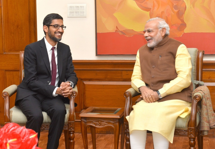 New Delhi: Google CEO Sundar Pichai calls on the Prime Minister Narendra Modi, in New Delhi on Dec 17, 2015. (Photo IANS/PIB) by .