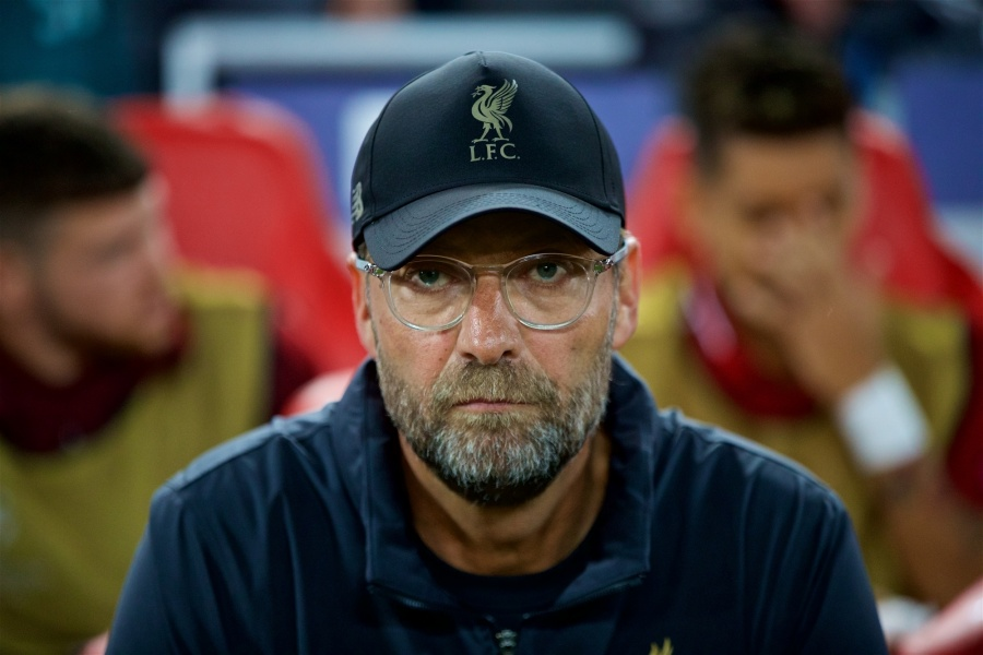LIVERPOOL, Sept. 19, 2018 (Xinhua) -- Liverpool's manager Jurgen Klopp is seen before the UEFA Champions League Group C match between Liverpool and Paris Saint-Germain at Anfield Stadium in Liverpool, Britain on Sept. 18, 2018. Liverpool won 3-2. (Xinhua/IANS) by .